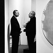 Artists Alexander Liberman and Barnett Newman at Liberman exhibition at Betty Parsons' gallery in 1963.  Taken with a 35 mm Nikon F.