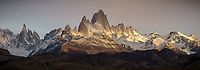 Panorama view of early morning light on the Fitz Roy Massif, Los Glaciares National Park, Argentina