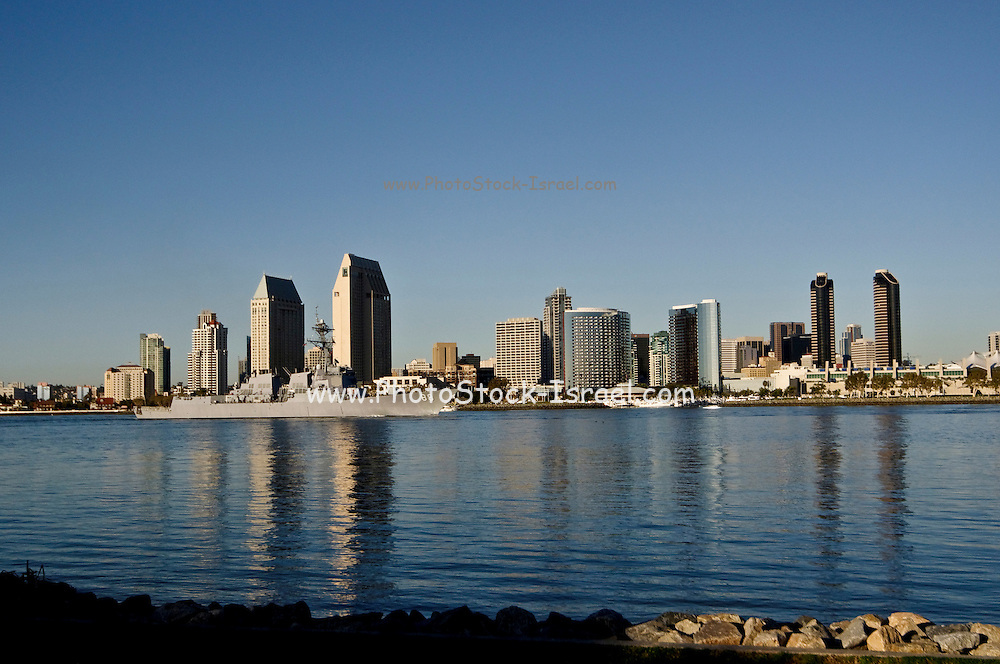 USA, California, San Diego USS Preble destroyer in the harbour