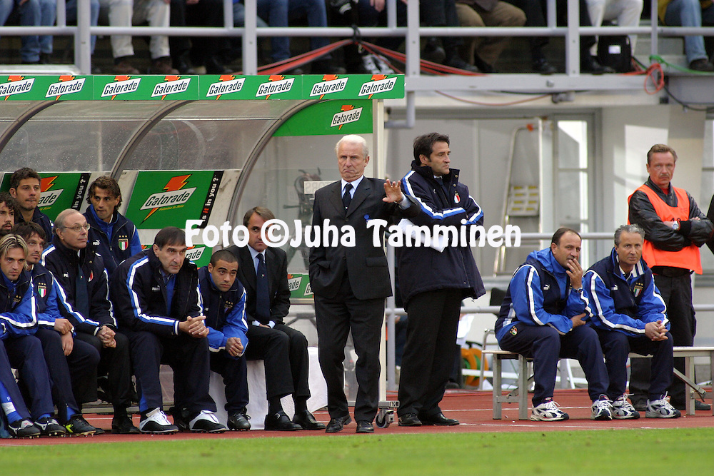 11.06.2003, Olympic Stadium, Helsinki, Finland..UEFA European Championship Qualifying match, Group 9, Finland v Italy.Coach Giovanni Trapattoni - Italy.©Juha Tamminen