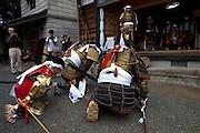 Samurai coming to present themselves to Samurai Fuku Taisho at his home during the Soma Nomaoi festival