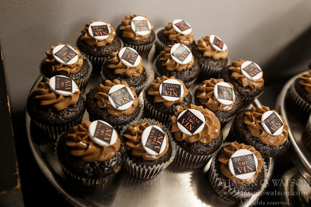 SAN FRANCISCO, CA - OCTOBER 02: Detailed view of cupcakes in the media dining room thanking broadcaster Vin Scully (not pictured) before the game between the San Francisco Giants and the Los Angeles Dodgers at AT&T Park on October 2, 2016 in San Francisco, California. The San Francisco Giants defeated the Los Angeles Dodgers 7-1. (Photo by Jason O. Watson/Getty Images) *** Local Caption ***