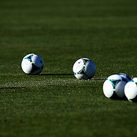 Feb 1, 2013;  Bradenton, FL, USA; Soccer balls sit on the field prior to the preseason game between the Columbus Crew and the New York Red Bulls at IMG Academy.