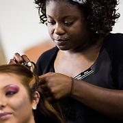 04/20/12 Newark Del. Stylist Siara Vaughn works on model Sam Tigani hair during a dress rehearsal Friday, April. 20, 2012 at The Paul Mitchell school of Delaware Friday, April. 20, 2012 in Newark Del...Special to The News Journal/SAQUAN STIMPSON