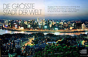 """Tearsheet from features and assignments done in China..Vanity Fair Germany , Chongqing """"Die Grosste Stadt der World"""" .Page 1/2..© Daniele Mattioli / Anzenberger"""