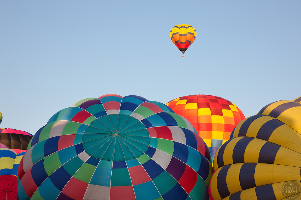 """""""Hot Air Balloons 1"""" - These hot air balloons were photographed during the 2011 Great Reno Balloon Race."""