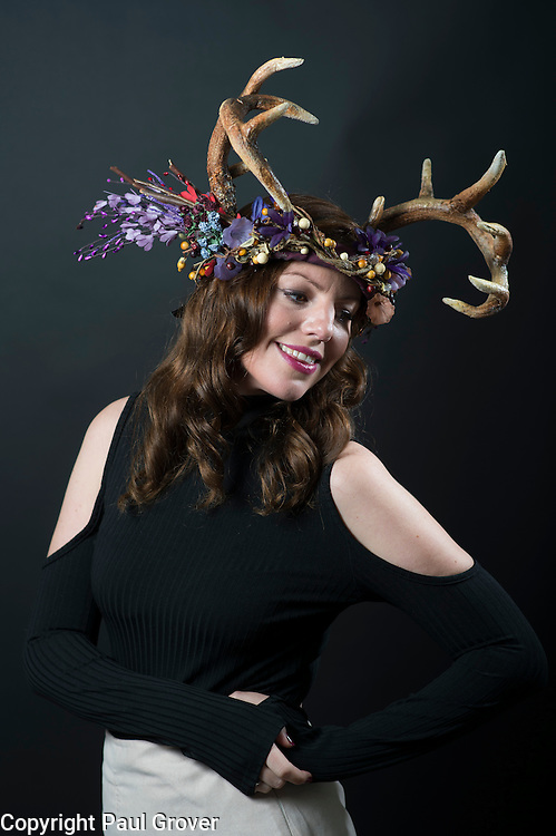 Milliner Natalie Ellner pictured in her studio wearing one of her creations Autumn Deer a headpiece one 1 of 11 that she is providing to dress each set of guests with spectacular animal masks and headgear at the Animal Ball 2016 on November 22nd, the world's greatest fashion houses will collaborate to dress a bestiary of beautiful creatures from all corners of British society to celebrate and protect nature's greatest masterpieces