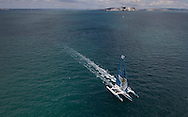 The 2013 Rolex Fastnet race start. <br /> <br /> Pictures off the Oman Air - Musandam MOD70 trimaran skippered by Sidney Gavignet  (FRA). Shown here as they race down the Solent and past the Needles <br /> <br /> Credit: Lloyd Images