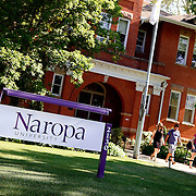SHOT 7/1/11 5:20:08 PM - Naropa University is a private American liberal arts university in Boulder, Colorado. Founded in 1974 by Tibetan Buddhist teacher and Oxford University scholar Chögyam Trungpa, it is named for the eleventh-century Indian Buddhist sage Naropa, an abbot of Nalanda. Naropa describes itself as Buddhist-inspired, ecumenical and nonsectarian rather than Buddhist. Naropa promotes non-traditional activities like meditation to supplement traditional learning approaches. Boulder, Co. has long been  famous for residents who are über environmentally conscious, socially liberal, obsessively healthy and, at times, overly preachy about each. It also has been a haven for Eastern philosophy and thought including a 1,000-student Buddhist-inspired university, yoga studios and meditation centers by the dozens, scads of alternative medicine practitioners, authentic Himalayan restaurants and more Eastern import shops than you'd think a town of 100,000 could possibly sustain.  (Photo by Marc Piscotty / © 2011)