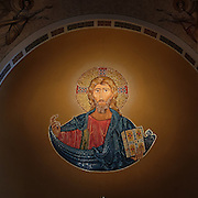A mosaic of Christ pantocrator is located above the tabernacle in the main apse ceiling of the Cathedral of Christ the King in Superior, Wis. (Photo by Sam Lucero)