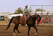 Buck Brannaman prepares for Working Ranch Horse, Will James Roundup, Ranch Rodeo, , Hardin, Montana