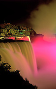 Image of Niagara Falls at night with light show, New York, America Northeast