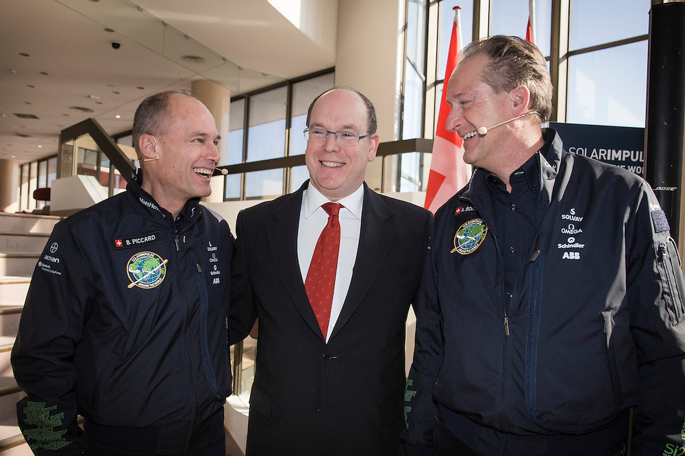 Bertrand Piccard, Prince Albert and André Borschberg at the opening of the Solar Impulse 2 Mission Control Centre in Monaco