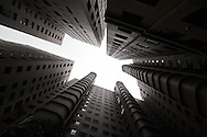 Looking up in a big Asian city can sometimes make one feel as if they've fallen into a concrete canyon; Taichung, Taiwan.