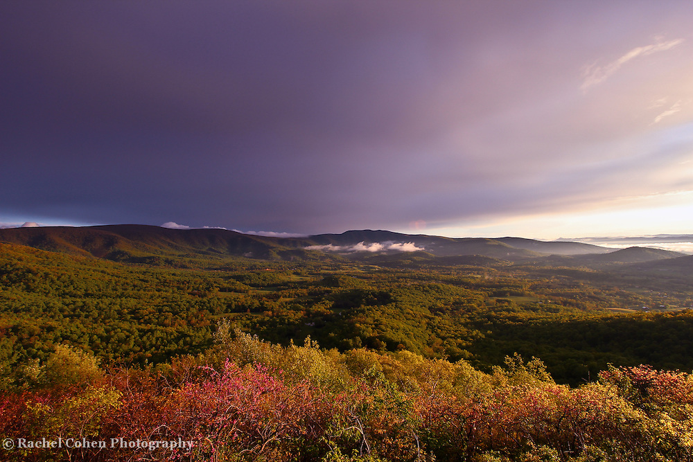 &quot;Dark Skies Leaving&quot;<br /> <br /> Wondrous mountains and sky after a spring thunderstorm in the Blue Ridge mountains!!<br /> <br /> The Blue Ridge Mountains by Rachel Cohen