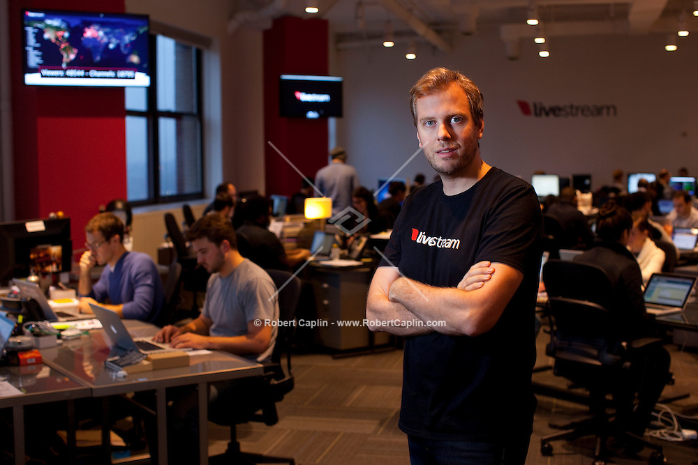 Max Haot, the CEO and co-founder of Livestream.com in New York. ..Photo by Robert Caplin.