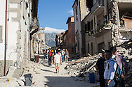 Amatrice main road, the most damaged town in the area. A 6,4 earthquake has hit central Italy during the night between the 23 and 24 August killing more than 100. The town of Amatrice is been heavily damaged.