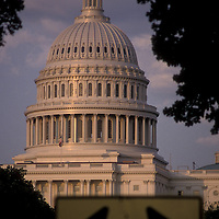 The U.S. Capitol looms over a directional arrow in Washington, DC.