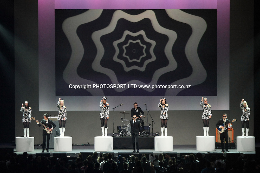 The Mint Chicks perform &quot; She's a Mod &quot; as a tribute to Ray Columbus and The Invaders.<br />Vodafone New Zealand Music Awards. Vector Arena, Auckland City, New Zealand. 8 October 2009. Photo: PHOTOSPORT
