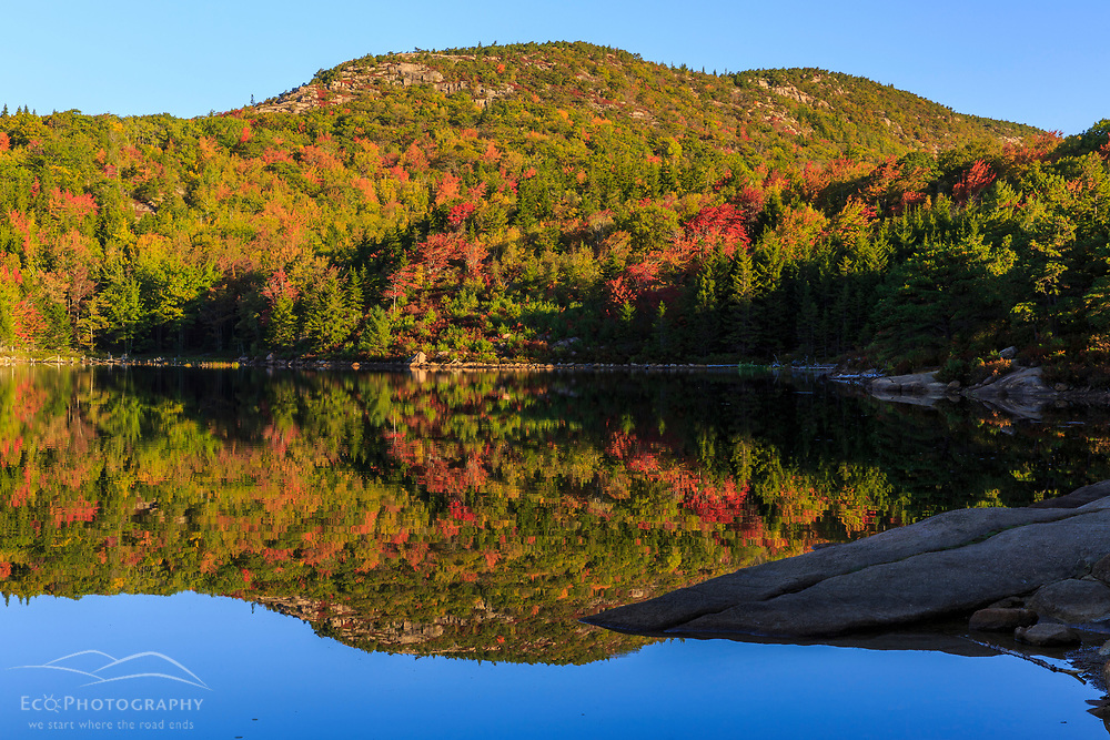 """The view of Champlain Mountain from """"the Bowl"""" in Maine's Acadia National Park."""
