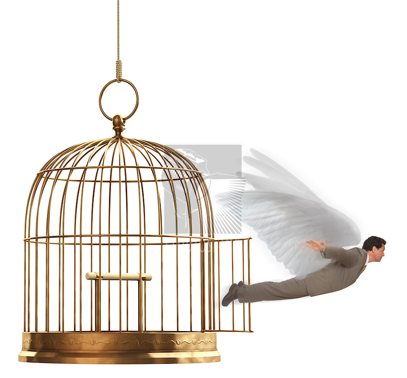 A man in a suit flying out of an open brass birdcage on a white background