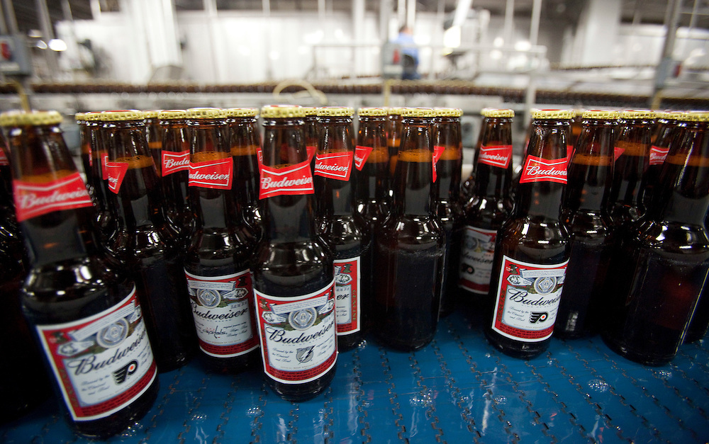 London, Ontario ---11-04-19--- Freshly filled bottles travel down a conveyor belt on their way to packaging at Labatt London Brewery April 19, 2011. Labatt has implemented several technologies to help conserve water at it's London facility.<br /> GEOFF ROBINS The Globe and Mail