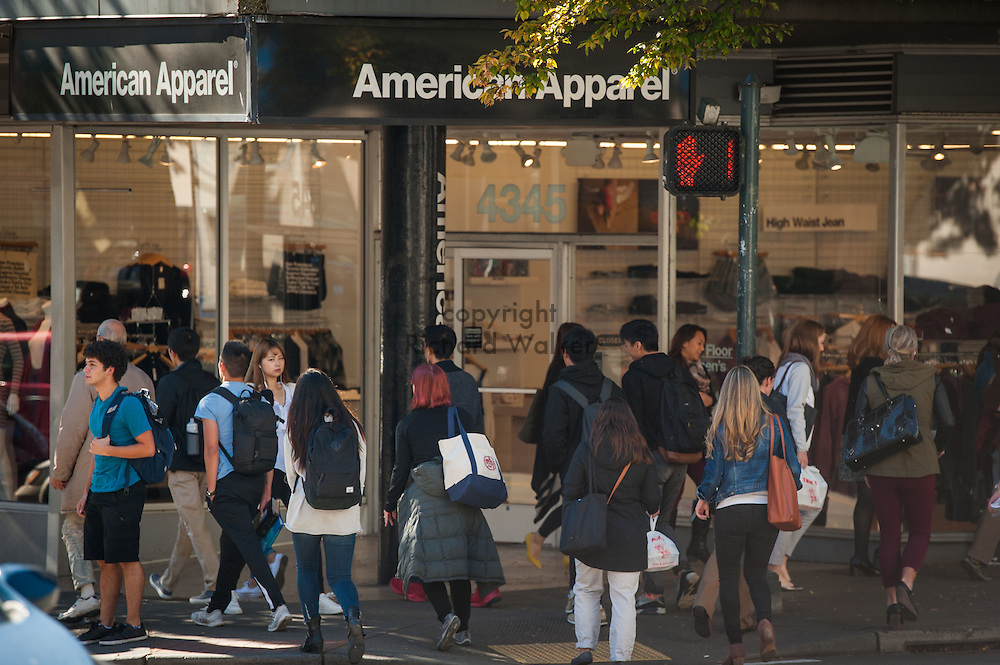 2016 October 11 - People cross near American Apparel on 45th in the University District, Seattle, WA, USA. By Richard Walker