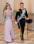 Crown Princess Mary15-4-2015 - COPENHAGEN - Crown Princess Mary and prince Frederik  at the Christiansborg Palace for a diner  , attent the 75 th Birthday celebration of of Queen Margrethe II . COPYRIGHT ROBIN UTRECHT