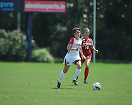 Ole Miss' Maddie Friedman (8) vs. Louisiana-Lafayette's Melissa Minton (10) in college soccer action at the Ole Miss Soccer Stadium in Oxford, Miss. on Sunday, August 26, 2012. Rafaelle Souza delivered her fourth goal of the season in the 12th minute for Ole Miss (4-0).
