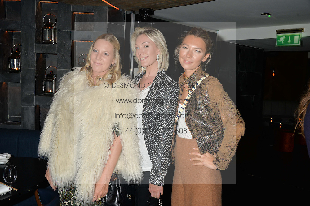 Left to right, ALICE NAYLOR-LEYLAND, OLIVIA BUCKINGHAM and ROBERTA BENTELER at a dinner to celebrate London Fashion Week SS 2015 and the opening of Ramusake at 92 Old Brompton Road, London on 15th September 2014.