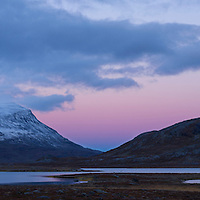 Dusk comes over mountain landscape, near lake Radujavri, Kungsleden trail, Lappland, Sweden