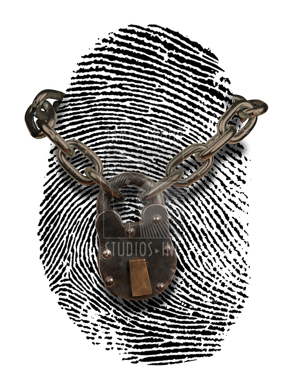 finger print with lock and chain draped over it