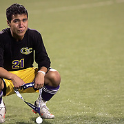 Grand Island's Lucas Venegas Hormachea (21) becomes emotional as he holds his state runner-up medal after the Islanders were defeated 2-1 by Creighton Preparatory in the Class A Boys State Soccer Championship final at Creighton University in Omaha on Monday. (Independent/Crystal LoGiudice)..