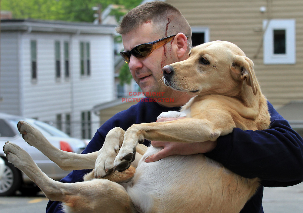 Jim Squires, the driver of an suv that was hit by a car fleeing police on route 1, clutches his dog Timber after the dog was found 1 mile from the accident scene. The dog had fled the roll-over accident and was found one hour later, on Jones Ave. Police, trying to stop a late model Mustang in Saugus, found that the driver would not stop for them, a chase ensued into Chelsea, via route 1, culminating in a crash that injured a few people, all minor.