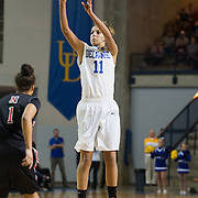 Delaware Forward Elena Delle Donne (11) attempts a long range shot in first half of an NCAA college basketball game against Northeastern Sunday, Feb. 26, 2012 at the Bob Carpenter Center in Newark, Del.