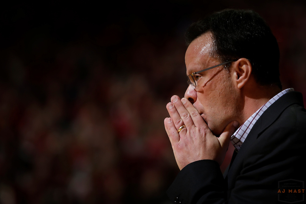 Indiana head coach Tom Crean in action as Michigan played Indiana in an NCCA college basketball game in Bloomington, Ind., Sunday, Feb. 12, 2017. (AJ Mast)