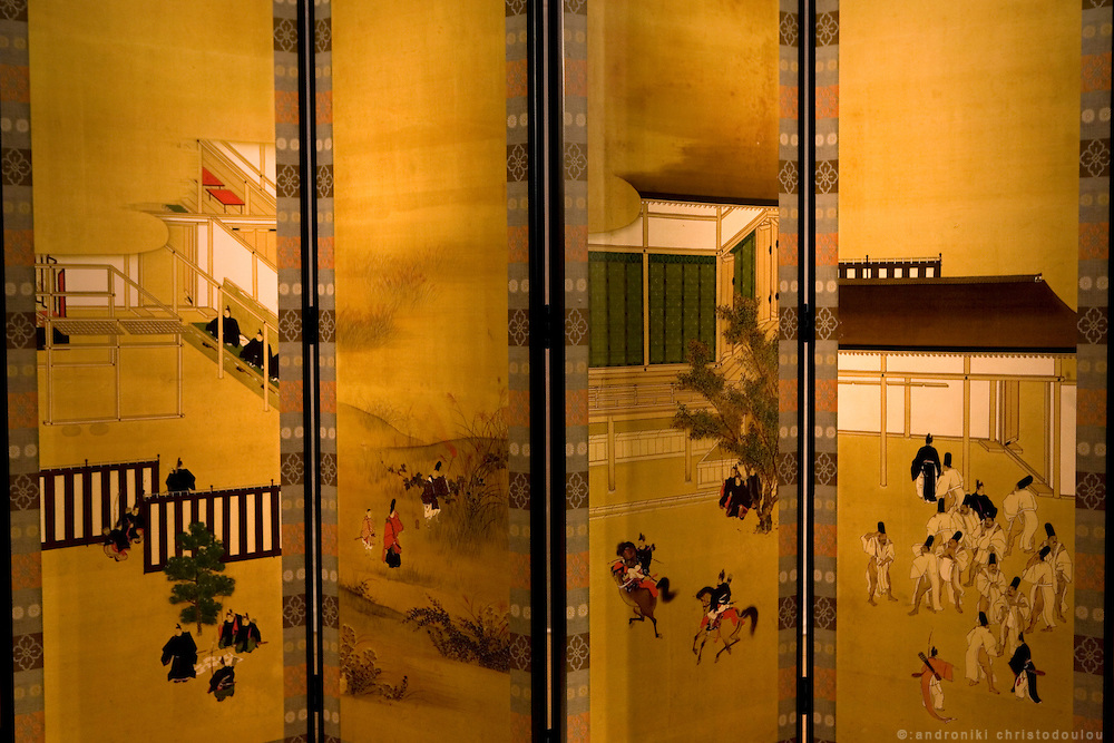 """Screen depicting scenes from the novel """"The Tale of Genji"""" at the Genji museum in Uji city south of Kyoto.."""