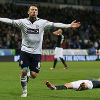 Bolton Wanderers v Charlton Athletic-Sky Bet Football League-Macron Stadium-14/04/2015-Pictures by Paul Currie-Bolton Wanderers Adam Le Fondre scores the 1st goal for Bolton against Charlton