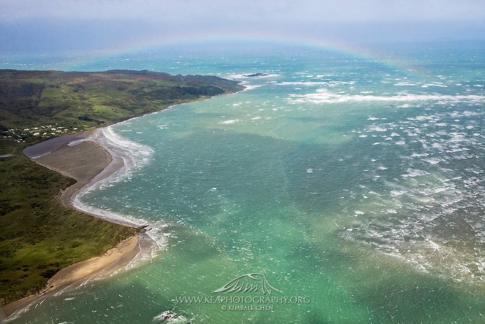 Rainbow over the Foveaux Strait and Omaui Beach, Southland, New Zealand, Invercargill