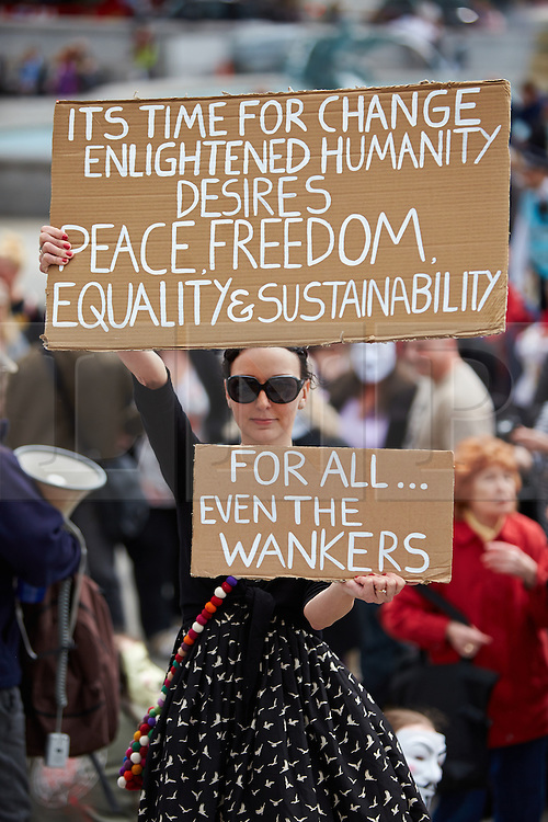 © Licensed to London News Pictures.  04/05/2013. LONDON, UK. Demonstrators protest in central London against the coalition Governments austerity programme and cuts to public services. Photo credit: Cliff Hide/LNP