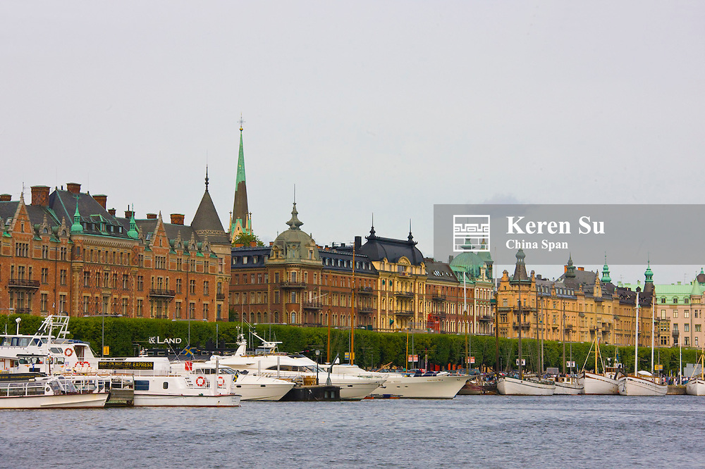 Buildings and boats along the waterfront, Stockholm, Sweden