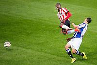 EINDHOVEN - PSV - SC Heerenveen , Eredivisie , voetbal , Philips stadion , seizoen 2014/2015 , 18-04-2015 , SC Heerenveen speler Stefano Marzo (r) haalt PSV speler Jetro Willems (l) onderuit