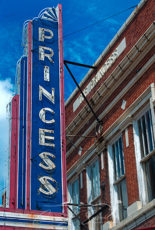Close-up of the Princess Theater marquee in Columbus, Miss. Aug. 16, 2010. The theater was built in 1924 and endured an extended period of abandonment and neglect, but it is currently being restored to its original glory. (Photo by Carmen K. Sisson/Cloudybright)