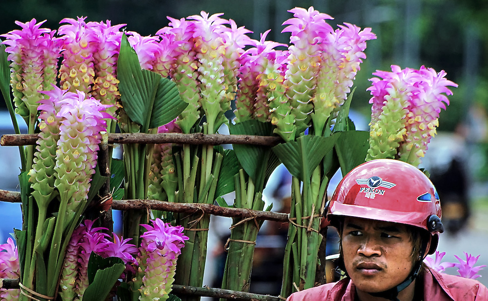 A flower delivery in Vientiane, Laos.
