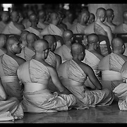 The faithful gather at Wat Dhammakaya on the outskirts of Bangkok to particiapte in Visahka Puja ceremonies.