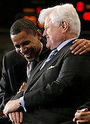Illinois Senator and Democratic presidential hopeful Barack Obama (L) hugs Democratic Senator Edward Kennedy during a rally where Kennedy gave Obama his endorsement at American University in Washington, DC, USA on 28 January 2008. The endorsement by Mr. Kennedy, a major figure in the Democratic party for more than 40 years, is seen as a blow to the campaign of his rival Democratic Senator Hillary Clinton.