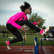 Athlete of the Week Sherita Lowman warming up prior to Charter Invitational Monday, May 9, 2016, at Charter School of Wilmington, in Wilmington Delaware.