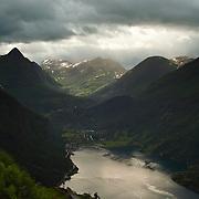 Gloomy weather over Geirangerfjorden, Norway.
