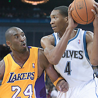 04 October 2010: Los Angeles Lakers guard Kobe Bryant #24 defends against Minnesota Timberwolves forward Wesley Johnson #4 during the Minnesota Timberwolves 111-92 victory over the Los Angeles Lakers, during 2010 NBA Europe Live, at the O2 Arena in London, England.