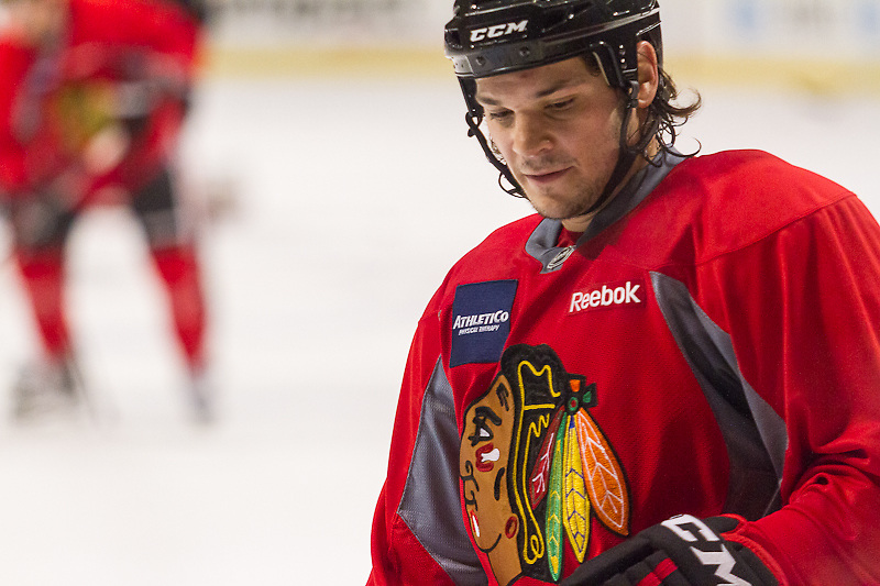 """Chicago Blackhawk Daniel """"Carbomb"""" Carcillo practicing at the United Center, December 29, 2011."""